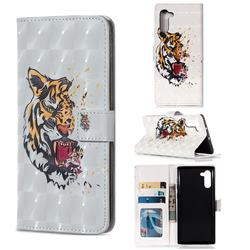 Toothed Tiger 3D Painted Leather Phone Wallet Case for Samsung Galaxy Note 10 (6.28 inch) / Note10 5G