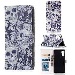 Skull Flower 3D Painted Leather Phone Wallet Case for Samsung Galaxy Note 10 (6.28 inch) / Note10 5G