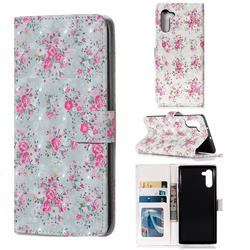 Roses Flower 3D Painted Leather Phone Wallet Case for Samsung Galaxy Note 10 (6.28 inch) / Note10 5G