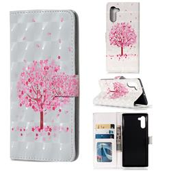 Sakura Flower Tree 3D Painted Leather Phone Wallet Case for Samsung Galaxy Note 10 (6.28 inch) / Note10 5G