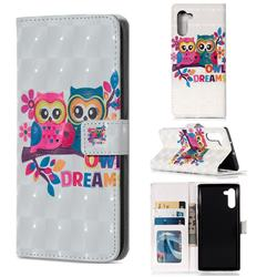 Couple Owl 3D Painted Leather Phone Wallet Case for Samsung Galaxy Note 10 (6.28 inch) / Note10 5G