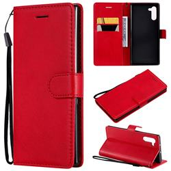 Retro Greek Classic Smooth PU Leather Wallet Phone Case for Samsung Galaxy Note 10 (6.28 inch) / Note10 5G - Red