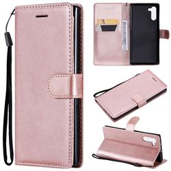 Retro Greek Classic Smooth PU Leather Wallet Phone Case for Samsung Galaxy Note 10 (6.28 inch) / Note10 5G - Rose Gold