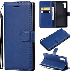 Retro Greek Classic Smooth PU Leather Wallet Phone Case for Samsung Galaxy Note 10 (6.28 inch) / Note10 5G - Blue