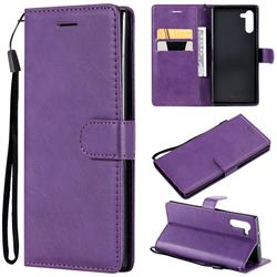 Retro Greek Classic Smooth PU Leather Wallet Phone Case for Samsung Galaxy Note 10 (6.28 inch) / Note10 5G - Purple