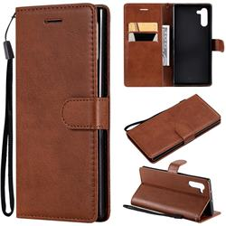 Retro Greek Classic Smooth PU Leather Wallet Phone Case for Samsung Galaxy Note 10 (6.28 inch) / Note10 5G - Brown