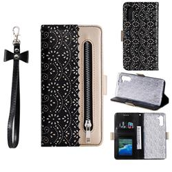 Luxury Lace Zipper Stitching Leather Phone Wallet Case for Samsung Galaxy Note 10 (6.28 inch) / Note10 5G - Black