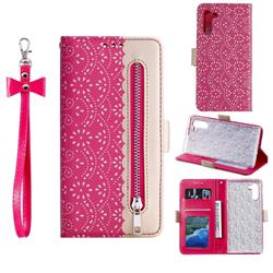 Luxury Lace Zipper Stitching Leather Phone Wallet Case for Samsung Galaxy Note 10 (6.28 inch) / Note10 5G - Rose
