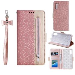 Luxury Lace Zipper Stitching Leather Phone Wallet Case for Samsung Galaxy Note 10 (6.28 inch) / Note10 5G - Pink