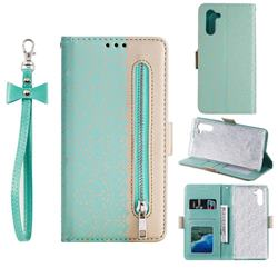 Luxury Lace Zipper Stitching Leather Phone Wallet Case for Samsung Galaxy Note 10 (6.28 inch) / Note10 5G - Green