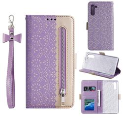 Luxury Lace Zipper Stitching Leather Phone Wallet Case for Samsung Galaxy Note 10 (6.28 inch) / Note10 5G - Purple