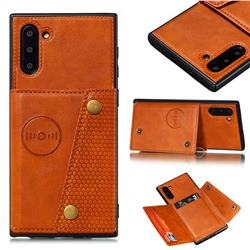 Retro Multifunction Card Slots Stand Leather Coated Phone Back Cover for Samsung Galaxy Note 10 (6.28 inch) / Note10 5G - Brown