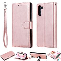 Retro Greek Detachable Magnetic PU Leather Wallet Phone Case for Samsung Galaxy Note 10 (6.28 inch) / Note10 5G - Rose Gold