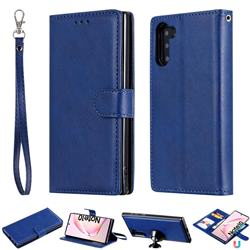 Retro Greek Detachable Magnetic PU Leather Wallet Phone Case for Samsung Galaxy Note 10 (6.28 inch) / Note10 5G - Blue