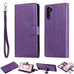 Retro Greek Detachable Magnetic PU Leather Wallet Phone Case for Samsung Galaxy Note 10 (6.28 inch) / Note10 5G - Purple