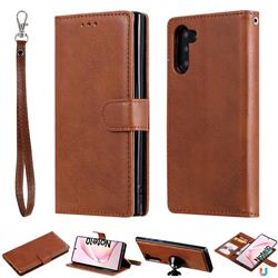 Retro Greek Detachable Magnetic PU Leather Wallet Phone Case for Samsung Galaxy Note 10 (6.28 inch) / Note10 5G - Brown