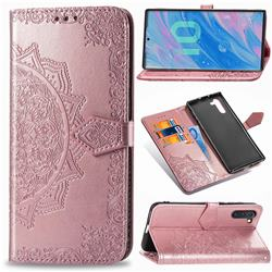 Embossing Imprint Mandala Flower Leather Wallet Case for Samsung Galaxy Note 10 (6.28 inch) / Note10 5G - Rose Gold