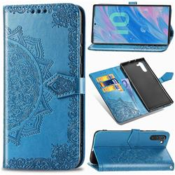 Embossing Imprint Mandala Flower Leather Wallet Case for Samsung Galaxy Note 10 (6.28 inch) / Note10 5G - Blue