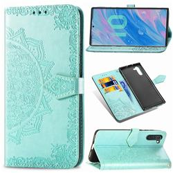 Embossing Imprint Mandala Flower Leather Wallet Case for Samsung Galaxy Note 10 (6.28 inch) / Note10 5G - Green