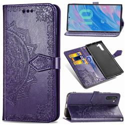 Embossing Imprint Mandala Flower Leather Wallet Case for Samsung Galaxy Note 10 (6.28 inch) / Note10 5G - Purple