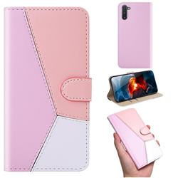 Tricolour Stitching Wallet Flip Cover for Samsung Galaxy Note 10 (6.28 inch) / Note10 5G - Pink