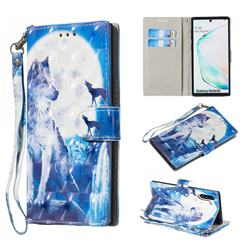 Ice Wolf 3D Painted Leather Wallet Phone Case for Samsung Galaxy Note 10 (6.28 inch) / Note10 5G