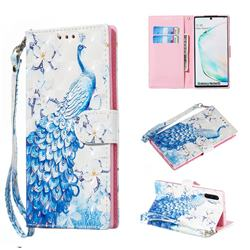 Blue Peacock 3D Painted Leather Wallet Phone Case for Samsung Galaxy Note 10 (6.28 inch) / Note10 5G