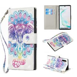 Colorful Elephant 3D Painted Leather Wallet Phone Case for Samsung Galaxy Note 10 (6.28 inch) / Note10 5G