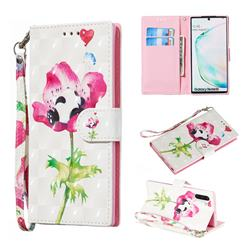 Flower Panda 3D Painted Leather Wallet Phone Case for Samsung Galaxy Note 10 (6.28 inch) / Note10 5G