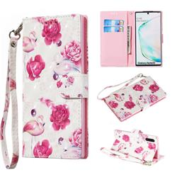 Flamingo 3D Painted Leather Wallet Phone Case for Samsung Galaxy Note 10 (6.28 inch) / Note10 5G