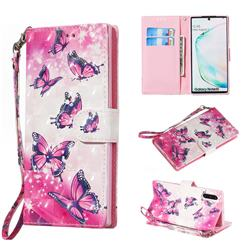 Pink Butterfly 3D Painted Leather Wallet Phone Case for Samsung Galaxy Note 10 (6.28 inch) / Note10 5G