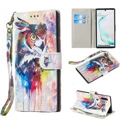 Watercolor Owl 3D Painted Leather Wallet Phone Case for Samsung Galaxy Note 10 (6.28 inch) / Note10 5G