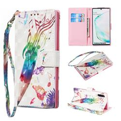 Music Pen 3D Painted Leather Wallet Phone Case for Samsung Galaxy Note 10 (6.28 inch) / Note10 5G