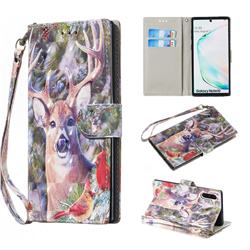 Elk Deer 3D Painted Leather Wallet Phone Case for Samsung Galaxy Note 10 (6.28 inch) / Note10 5G