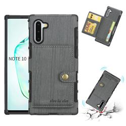 Brush Multi-function Leather Phone Case for Samsung Galaxy Note 10 (6.28 inch) / Note10 5G - Gray