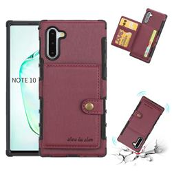 Brush Multi-function Leather Phone Case for Samsung Galaxy Note 10 (6.28 inch) / Note10 5G - Wine Red
