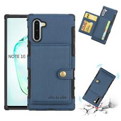 Brush Multi-function Leather Phone Case for Samsung Galaxy Note 10 (6.28 inch) / Note10 5G - Blue
