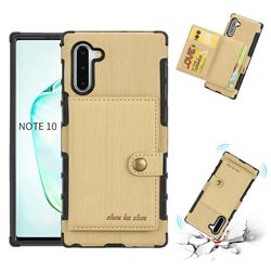 Brush Multi-function Leather Phone Case for Samsung Galaxy Note 10 (6.28 inch) / Note10 5G - Golden