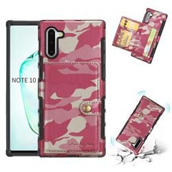 Camouflage Multi-function Leather Phone Case for Samsung Galaxy Note 10 (6.28 inch) / Note10 5G - Rose