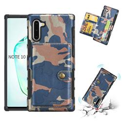Camouflage Multi-function Leather Phone Case for Samsung Galaxy Note 10 (6.28 inch) / Note10 5G - Blue