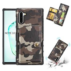 Camouflage Multi-function Leather Phone Case for Samsung Galaxy Note 10 (6.28 inch) / Note10 5G - Coffee