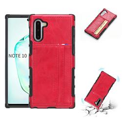 Luxury Shatter-resistant Leather Coated Card Phone Case for Samsung Galaxy Note 10 (6.28 inch) / Note10 5G - Red