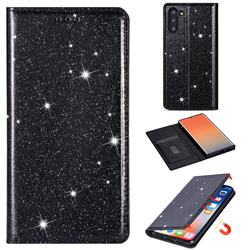 Ultra Slim Glitter Powder Magnetic Automatic Suction Leather Wallet Case for Samsung Galaxy Note 10 (6.28 inch) / Note10 5G - Black