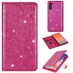 Ultra Slim Glitter Powder Magnetic Automatic Suction Leather Wallet Case for Samsung Galaxy Note 10 (6.28 inch) / Note10 5G - Rose Red