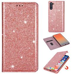 Ultra Slim Glitter Powder Magnetic Automatic Suction Leather Wallet Case for Samsung Galaxy Note 10 (6.28 inch) / Note10 5G - Rose Gold