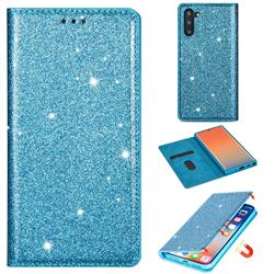 Ultra Slim Glitter Powder Magnetic Automatic Suction Leather Wallet Case for Samsung Galaxy Note 10 (6.28 inch) / Note10 5G - Blue