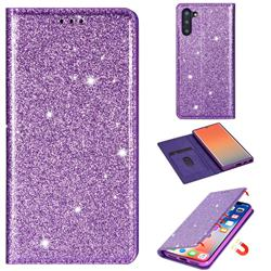 Ultra Slim Glitter Powder Magnetic Automatic Suction Leather Wallet Case for Samsung Galaxy Note 10 (6.28 inch) / Note10 5G - Purple