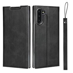 Calf Pattern Magnetic Automatic Suction Leather Wallet Case for Samsung Galaxy Note 10 (6.28 inch) / Note10 5G - Black