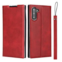 Calf Pattern Magnetic Automatic Suction Leather Wallet Case for Samsung Galaxy Note 10 (6.28 inch) / Note10 5G - Red