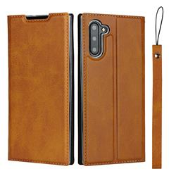 Calf Pattern Magnetic Automatic Suction Leather Wallet Case for Samsung Galaxy Note 10 (6.28 inch) / Note10 5G - Brown